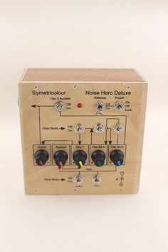 This is a version of the Noise Hero in a wooden box that shows its working on the front panel. The box is finished in wax to give it a little