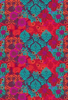 papel craft + bebel franco / red, pink, and turquoise Et Wallpaper, Pattern Wallpaper, Wallpaper Backgrounds, Wallpapers, Motifs Textiles, Textile Patterns, Textile Design, Indian Patterns, Cool Patterns