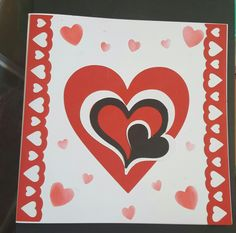 Hearts monochrome red, white and black suitable for Valentines Day or just to say that you love someone 8in white card