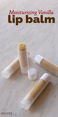 Homemade Moisturizing Vanilla Lip Balm ~ makes for a great holiday gift idea! | RecipeswithEssentialOils.com