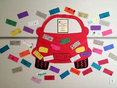 """Stick it to Bullies! For the activity, students made """"bumper stickers"""" with Anti-Bullying slogans.  This counselor picked the top 40 bumper stickers and made a wall display to remind students of their pledge to not bully."""