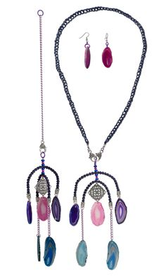 Jewelry Design - Convertible Single-Strand Necklace and Wind Chime and Earring Set with Agate Gemstone Focals, Howlite Gemstone Beads and Antique Silver-Plated Brass Focal - Fire Mountain Gems and Beads