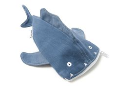 Funny Pencil case FISH. Jeans upcycling. For boys an girls.