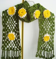 Crochet Scarf Yellow and Green Gift for Women Girls by earflaphats, $40.00