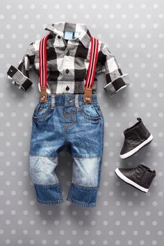 Baby fashion | Baby clothes | Plaid shirt | Suspenders | Jeans | Hi-top sneakers | Set | The Children's Place