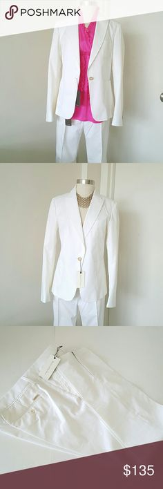 """ROSCHTERRA White Suit with Pants NWT Chic and elegant suit with skinny pants, perfect for any occasion and any outfit can be wear for work or dinner. One button closure, stitching throughout on the front,design in Europe and made in Portugal,  67% cotton 4% elastin 29% polyester dry cleaning only, measurements are length 25"""" bust 36"""" waist 34"""" pants waist 36"""" hip 40"""" inseam 30"""" ROSCHTERRA  Jackets & Coats Blazers"""