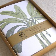 Letterpress Note Card Set - Banana Trees