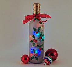 christmas wine bottle decorations | wine bottle lamp, holly, Christmas decor, red and green, lighting