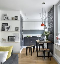 Ideas To Decorate Scandinavian Kitchen Design Small scandinavian kitchen with raised panel gray cabinets and light hardwood floors Futuristisches Design, Home Design, Design City, Layout Design, Grey Kitchens, Home Kitchens, Small Kitchens, Outdoor Kitchens, L Shaped Kitchen Designs