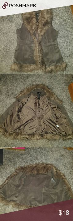Faux fur/suede vest Excellent condition, size PM but fits a medium.  2 of the tiny hooks to close the vest are missing but it can still close without looking goofy lol. Color is kind of a gray /olive green. Brand is style & co ..free people for exposure free people  Other
