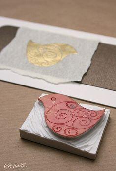 eraser stamp - swirly bird by ola smith, via Flickr