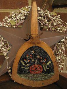 Primitive Punch Needle ~JOL Pumpkin/Bittersweet ~ Antique Wooden Butter Paddle