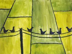 Birds on a wire. School Art Projects, Projects For Kids, Art School, Crafts For Kids, Arts And Crafts, 6th Grade Art, Crazy Bird, Spring Art, Autumn Art