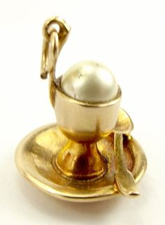 Vintage 9ct Gold EGG CUP & SPOON Charm Faux Egg 1962 from m4gso on Ruby Lane