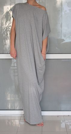 Open Back Grey Plus size Maxi Oversized by cherryblossomsdress