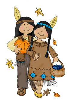 Free Dearie Dolls Digi Stamps: As requested, colored version Thanksgiving Indians...