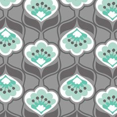 Cotton Fabric For Quilting And Crafting By Emma And Mila From The Fresh Mint Collection: Posies in Grey, Gray Grey Fabric, Cotton Fabric, Patchwork Fabric, Fresh Mint, The Fresh, Mint Wallpaper, English Paper Piecing, Fabric Storage, Thanks