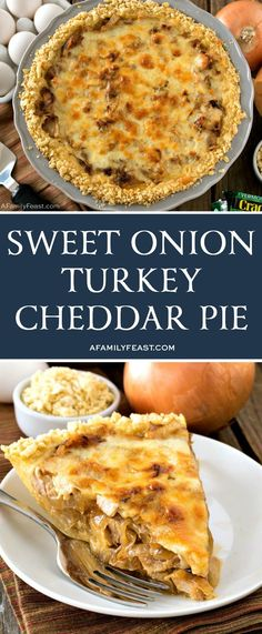 Onion Turkey Cheddar Pie Who says delicious pies can only be served for dessert? This savory Sweet Onion Turkey Cheddar Pie is fantastic!Who says delicious pies can only be served for dessert? This savory Sweet Onion Turkey Cheddar Pie is fantastic! Turkey Pie, Turkey Dishes, Turkey Recipes, Turkey Leftovers, Leftover Turkey, Chilli Recipes, Sausage Recipes, Pork Recipes, Chicken Recipes