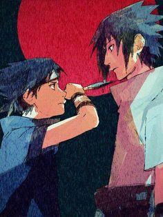 Little Sasuke v.s Big Sasuke! Their both cuties! Sasuke Uchiha, Anime Naruto, Naruto E Boruto, Naruto Cute, Naruto Shippuden Anime, Sasunaru, Sasuhina, Narusasu, Naruto Team 7