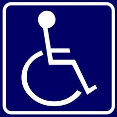 Naklejka Przewóz osób niepełnosprawnych. Oznaczenie określa pojazd przeznaczony konstrukcyjnie do przewozu osób niepełnosprawnych.