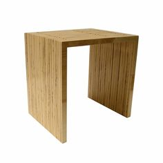 "Stacked Ply End Table - ""Made of recycled birch plywood and sealed with lacquer"" - listed ON SALE at $550 (regularly $600). I don't like the three through-cut channels on the top; they severely weaken the structure."