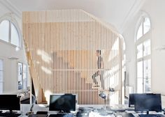 A Modern Office Takes Over a Classic Building - Design Milk Cabinet D Architecture, Architecture Office, Architecture Design, Haussmann Architecture, Corporate Interiors, Office Interiors, Interior Office, Habitat Collectif, Cool Office Space