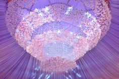 Preston Bailey, Preston Bailey Brides, Preston Bailey's Bride Ideas, Weddings, Bride Ideas, Flowers, Events, Chandelier, Floral and Crystal tent ceiling, tent ceiling