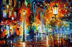 NIGHT LIGHTS - PALETTE KNIFE Oil Painting On Canvas By Leonid Afremov http://afremov.com/NIGHT-LIGHTS-PALETTE-KNIFE-Oil-Painting-Onn-Canvas-By-Leonid-Afremov-Size-24-x30.html?bid=1&partner=20921&utm_medium=/vpin&utm_campaign=v-ADD-YOUR&utm_source=s-vpin