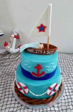 Nautical Theme Baby Shower Cakes for Boys Baby Shower Menu, Baby Shower Cakes For Boys, Baby Shower Themes, Baby Boy Shower, Shower Ideas, Sailboat Cake, Nautical Birthday Cakes, Nautical Cake, Deserts
