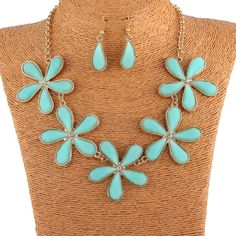 Zinc Alloy and Resin Fashion Flower Leaf Design Pendant Necklace Earrings Women Jewelry Sets