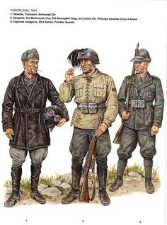 """Regio Esercito, Yugoslavia 1941 - 1 Tenente, Divisione corazzata """"Centauro"""" - 2 Sergente motociclista, 3o rgmt Bersaglieri, 3a Divisione Celere """"Principe Amedeo Duca d'Aosta"""" - 3 Caporalmaggiore, 23 settore Guardie di frontiera"""