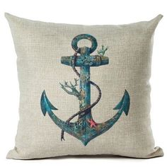 Nautical Anchor Design Decorative Pillow Case Cover 45cm x 45cm - Pirates of the Caribbean - Cove Cotton
