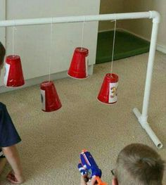 Need a target for that pesky nerf gun? Teach the kids to aim and keep them busy seeing who gets the most points out of so many bullets.