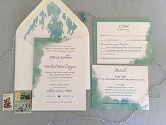 Watercolor nautical seaside wedding invitation in blue/aqua color scheme. Hobart and Haven  www.hobartandhaven.com