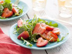 Arugula and Strawberry Salad Recipe : Alex Guarnaschelli : Food Network - Alex showcases how delicious strawberries can be when used outside of the dessert realm. Barbecue Side Dishes, Barbecue Sides, Easy Summer Salads, Summer Recipes, Simple Salads, Summer Food, Summer Fruit, Food Network Recipes, Cooking Recipes
