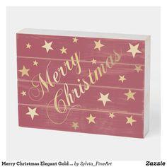 Merry Christmas Elegant Gold Script Festive Stars Wooden Box Sign