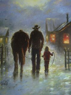 Night Ride Print - Vickie Wade art, paintings, prints, landscape, dad and daughter, horses, cowboys, farmer, little girl.