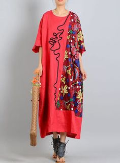 Red Embroidery Asymmetric Maxi Dress