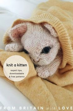 love this kitten knitting pattern by Claire Garland of Dot Pebbles. Click through for details on how to knit a kitten or cat with expert tips from Cla Love Knitting Patterns, Knitting Stitches, Free Knitting, Baby Knitting, Crochet Patterns, Cowl Patterns, Knitting Machine, Cross Stitches, Vintage Knitting