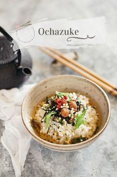 Ochazuke is one of the most simple traditional Japanese dishes. Good quality Japanese rice, topping variations, Yakumi flavour make delicious Ochazuke Easy Japanese Recipes, Asian Recipes, Gourmet Recipes, Cooking Recipes, Japanese Vegetarian Recipes, Cooking Games, Meal Recipes, Recipies, Japanese Rice Bowl