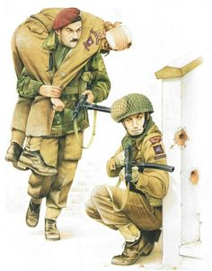 georgy-konstantinovich-zhukov: The British Paras at Arnhem Private, The Parachute Regiment Standard fighting order of steel helmet, Denison smock, Airborne BD trousers 'with chamois-lined pockets, and a right thigh knife pocket), 'ammunition boots' and 'anklets, web'. The Sten 9mm sub- machine gun was widely used, in all its five Marks. by airborne troops, whose requirements had influenced its design; this is the Mk. II model. Note smock cuffs with knit sock-tops sewn on. On is back he…