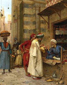 Arthur von Ferraris (Austrian painter) 1856 - 1936 Driving a Bargain, Cairo, 1890 oil on panel 25 1/4 x 19 3/4 in. (64.1 x 50 cm.) signed Arthur Ferraris, inscribed Paris and dated 1890 (lower left) Private colletion