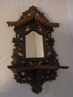 Antique German Carved Wood Wall Shelf with Mirror #