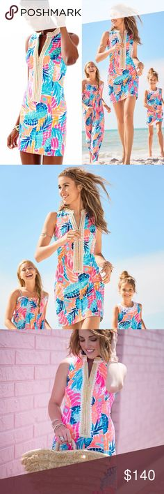 """NWT Lilly Pulitzer Alexa Shift Multi Goombay Smash ✨4.4/5 review here: https://www.lillypulitzer.com/product/alexa-shift-dress/10339.uts 🤩As seen on blog (see pics): http://www.somethingdelightfulblog.com/2017/06/mommy-me-lilly-for-first-day-of-summer.html 👗NEW WITH TAGS! Size 10. 🌸 Color: Multi Goombay Smashed 🛍 35"""" From Natural Waist To Hem. 💥 Vintage Dobby - Printed (100% Cotton). (More pics coming! But BRAND NEW! My husband is already asleep with the lights off where the dress is…"""
