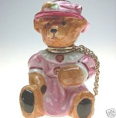 *Royal Stratford England handpainted   w 24k gold and pink  ~Teddy Bear perfume bottle  (signature of artist).said so on the bottom of the bottle. 6cm