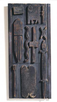 1966, Francisco Matto (Montevideo, Uruguay 1911-1995): Ten forms. Oil on wood, 28 x 12⅜ in. (71 x 31.5 cm). Cecilia De Torres Ltd.