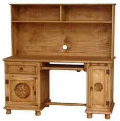 This is a great computer desk for kids or adults. It is available with or without the star and the hutch top! www.casadelsoldesigns.com Rustic Pine Furniture, Home Furniture, Kid Desk, Western Homes, Rustic Design, Cabinet Hardware, Bird Houses, Home Accessories, Star