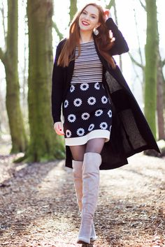 Grey Over Knee Boots Outfit!