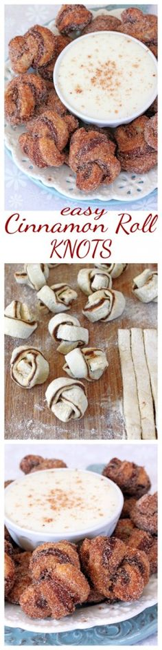 Cinnamon Roll Puff Pastry Knots with Cream Cheese Dip