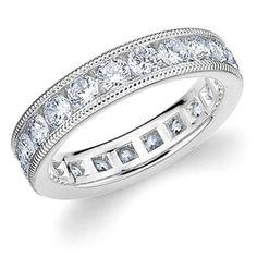 Platinum Milgrain Diamond Eternity Ring #Diamonds